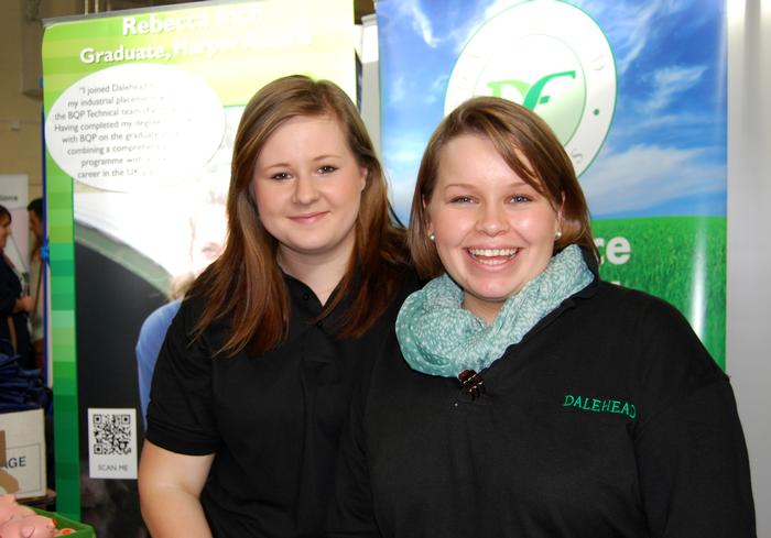 Third year students Paula Lobb (left) and Judith Harcombe, who are currently on placement with Dalehead Foods, help man the company's stand at the fair.