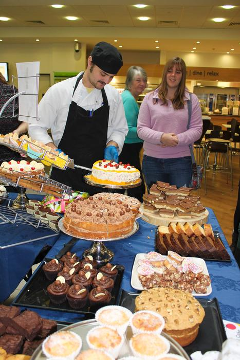 Staff and students snap up some of the treats on offer.