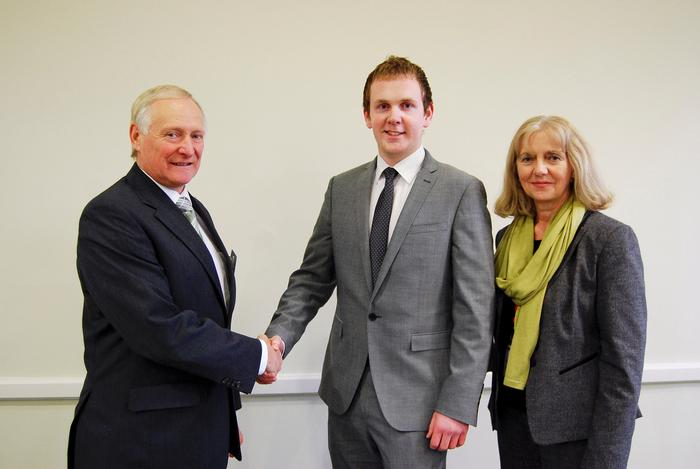 Alastair Tulloch, left, and Jane Broomhall congratulate new CLAAS scholar David Thornton