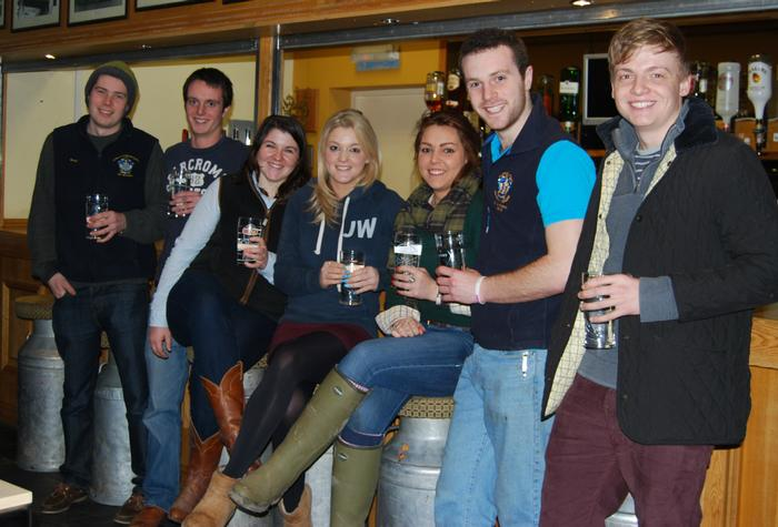 The students taking part in the Dryathlon campaign - swapping beer for water