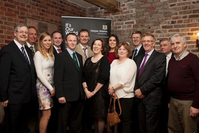 The Harper Ireland dinner guests, who travelled over for the event, with Vice Chancellor Dr David Llewellyn.  L-R guest speaker Tony O'Neill; HAU Governor Campbell Tweed; Ballycastle careers advisor Nuala Devlin; agricultural advisor to Diane Dodds MEP, Mark Beattie; Keenan Regional Manager Patrick Tinnelly; David Brown representing the Vaughan Trust; Royal School Armagh careers advisor Gillian Hamilton; Irish Farmers' Journal careers editor Mary Phelan; Markethill High School careers advisor Paula Greer; Dr David Llewellyn; Pig industry rep and HAU alumnus Ivor Ferguson; Secretary of Harper Adams in Ireland Basil Bayne; PR consultant Liam de Paor.