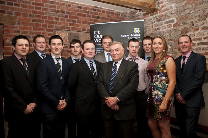 Basil Bayne, secretary of the Harper Adams in Ireland association for former students, with scholars supported by Harper Adams in Ireland awards, sponsored by Alltech Ireland, Devenish Nutrition, Dunbia, Elanco, HA in Ireland, Keenan and the Vaughan Trust. L-R Richard Beattie, Brandon Aiken, Stephen Shaw, Jack Johnston, Cormac Flaherty, David Boyd, Basil Bayne, Anthony Robb, Connor Donaldson, Catherine Gawn and David Thornton.