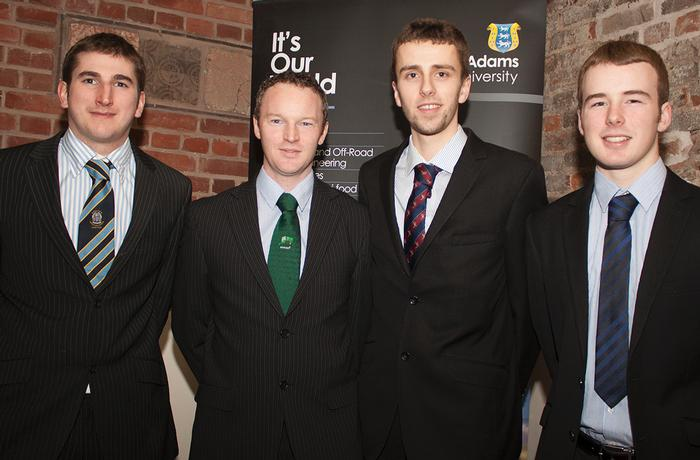 Dinner guest Patrick Tinnelly, Regional Manager for Richard Kennan and Co, and a former Harper Adams student, took the opportunity to catch up with Keenan scholars. L-R Eamon Whyte, Patrick Tinnelly, Matthew Morrow and Matthew Gilbert.