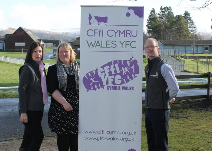 Photo: L-R, Harper Adams Director of Marketing and Communications, Lorraine Westwood; Wales YFC Project Support Officer, Helen Evans; and Alex Hardie, Harper Adams Marketing Manager for Shows and Events.