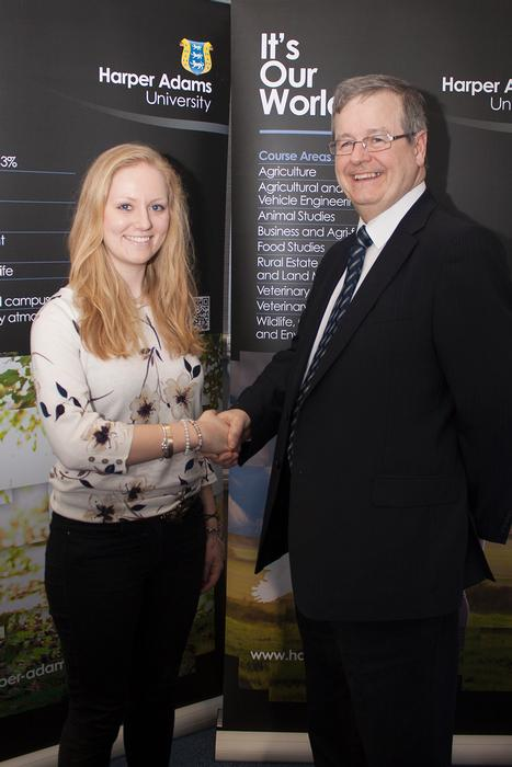 Moy Park scholar Emma Fletcher is congratulated by Convenience Foods & New Business Director Tony O'Neill