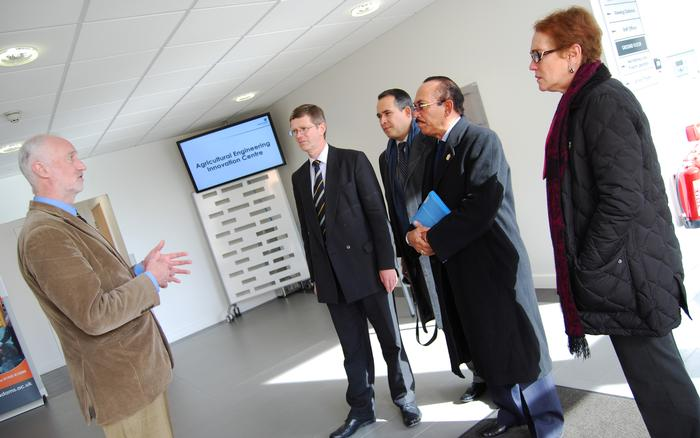 Officials meet with Head of Engineering, Professor Simon Blackmore (L), during a visit last week
