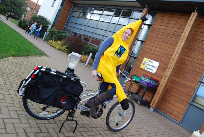 Student Gemma Slater on the smoothie bike