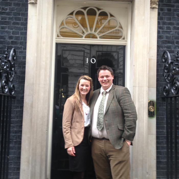 Chloe and Tom outside Number 10 Downing Street (photo courtesy of Chloe Cross)
