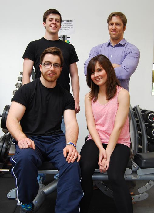 Members of the Harper Fitness team - Back L-R Will de Mey and Andy Jefferies. Front L-R Tom Loe and Ceri Jones.