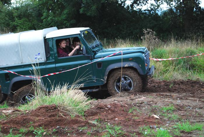Sally driving her Landy around the Harper Adams off-road track