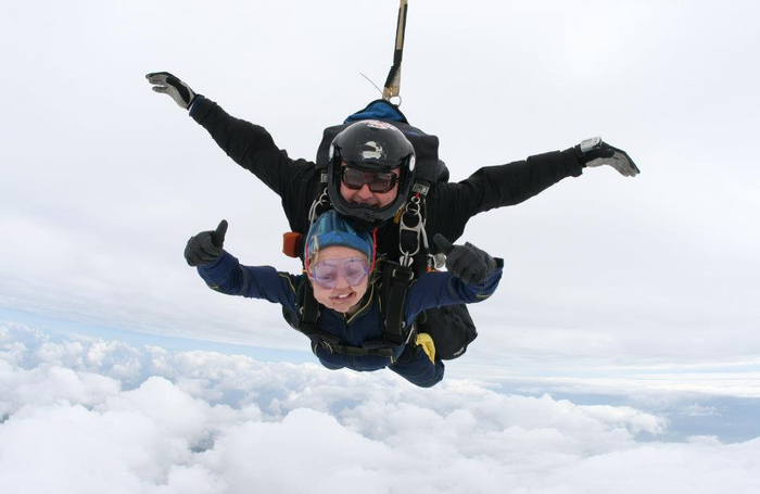 Sophia during a sky dive