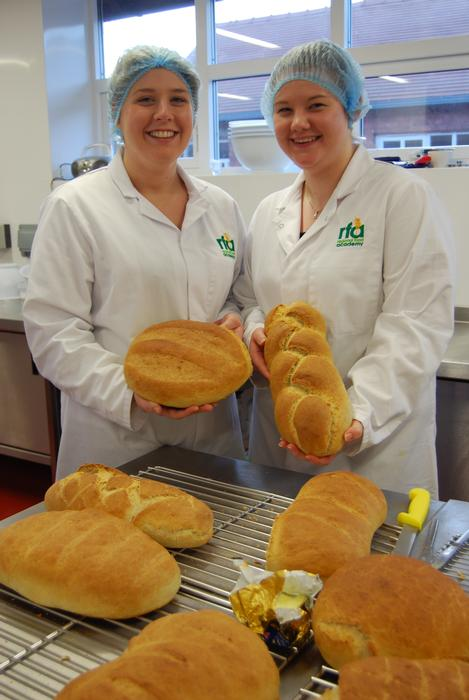 Food students using the Regional Food Academy facilities on campus to learn about the science of baking