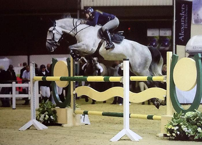 Steph Gunn competing on Quastor Du Buisson Z in the five-year-olds Championship at the Scope Festival 2014