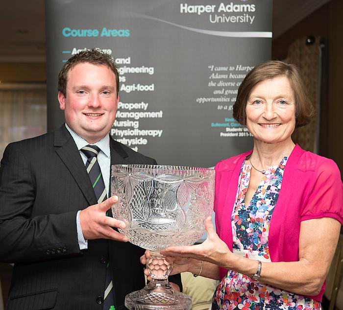 Cormac Flaherty receiving the Victor Truesdale Prize from Ann Truesdale at the Harper Adams in Ireland event