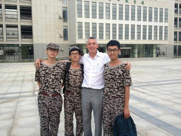 Professor Mills with freshers at Huazhong Agricultural University