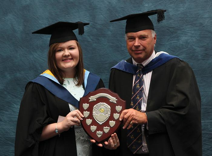 Laura Carr, BSc (Hons) Rural Enterprise and Land Management, receives the Gethin Webb Award from Senior Lecturer Simon Keeble, at the Harper Adams University graduation prize-giving.  This award is given to the final year 'REALM' student who has made the learning experience more enjoyable for other students throughout their time at Harper Adams.