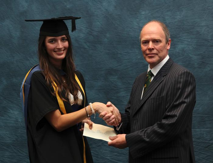 Sarah Jones, Postgraduate Diploma Rural Estate and Land Management, receives the Central Association of Agricultural Valuers Postgraduate prize from external professional examiner Charles Meynell. Sarah, 22, from Penrith, secured the award by achieving the top mark in the Rural Asset Valuation module.