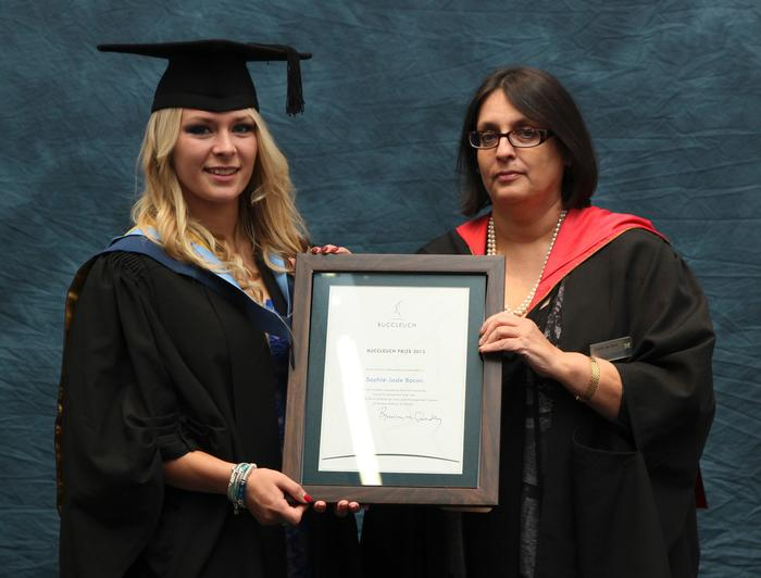 Sophie-Jade Bacon, BSc (Hons) Rural Enterprise and Land Management (REALM), receives the Buccleugh Estates Prize from Principal Lecturer Carrie de Silva, on graduation day at Harper Adams University. The prize is awarded annually to the REALM placement student of the year.