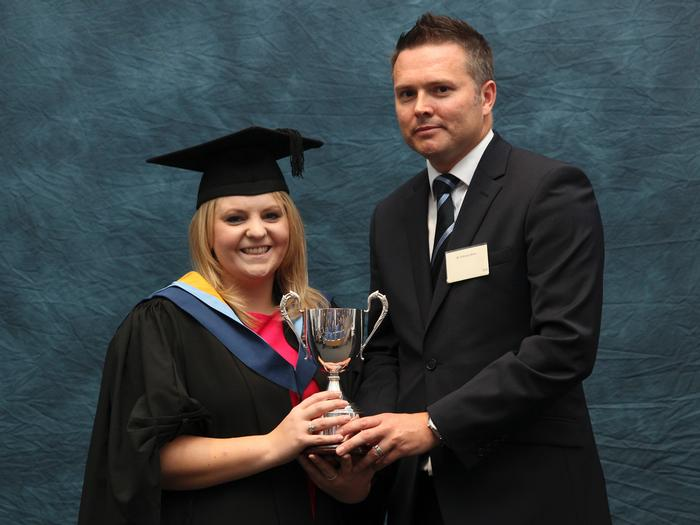 Catherine Bletcher, BSc (Hons) Agri-food Marketing with Business Studies, receives the Noble Food Award (previously the Deans Foods Award), from Anthony Minto, Managing Director of Noble Foods. The award is presented annually at the Harper Adams University graduation prize-giving for the best final year average mark achieved by a BSc Agri-food student.