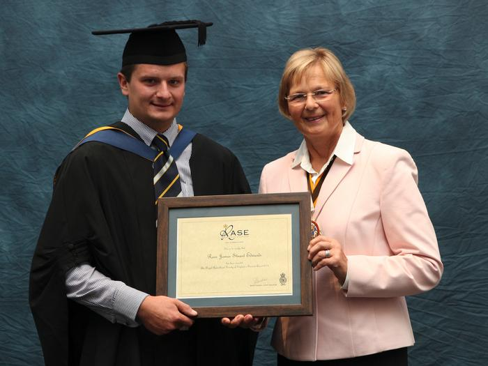 Devon's Ross Edwards, BSc (Hons) Agriculture, was a double winner at the Harper Adams University graduation prize-giving. Baroness Byford presented Ross, 22, from Tavistock, with the Royal Agricultural Society of England prize, awarded to the student who performed best in both academic and practical work.  He also received the Irish Bowl from 2013 winner James Yeomans. The Irish Bowl is awarded to a student who has demonstrated outstanding qualities in being involved in the university community and is who highly employable.