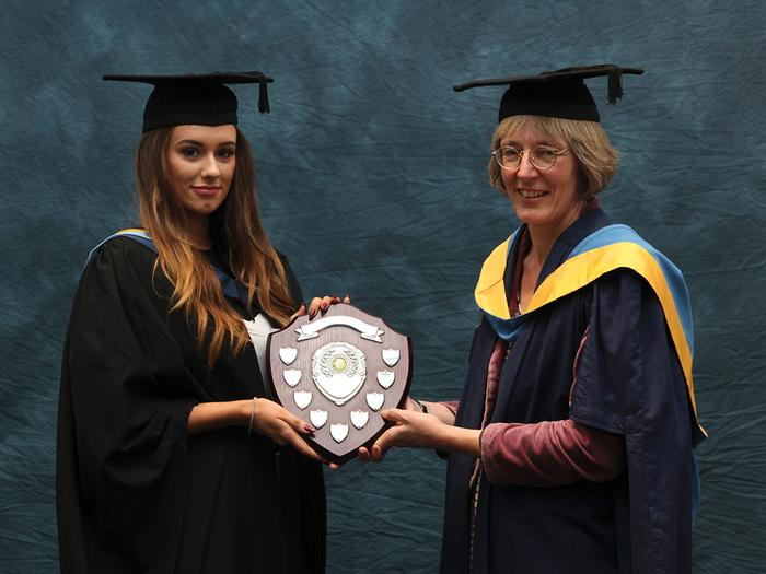 Harriet Griffin BSc (Hons) Rural Property Management, receives the Thomas Haseley Award from Senior Lecturer Susan Ragbourne. This award is presented annually to the final year Rural Property Management student who has made the learning experience more enjoyable for other students throughout their time at Harper Adams.