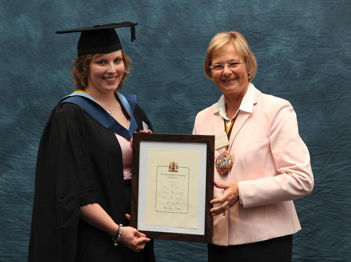 Kirsty Errington, 22, from Cockermouth, Cumbria, was a double winner at the Harper Adams University graduation prize-giving. Kirsty received the Worshipful Company of Farmers Prize from Baroness Byford, as well as a Royal Association of British Dairy Farmers/De Lacy Executive Dairy Student Award.