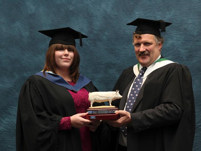 Lorna Cooper BSc (hons) Animal Behaviour and Welfare, received the PIC UK Award from Senior Lecturer Alan Stewart for the best final year project related to pig production