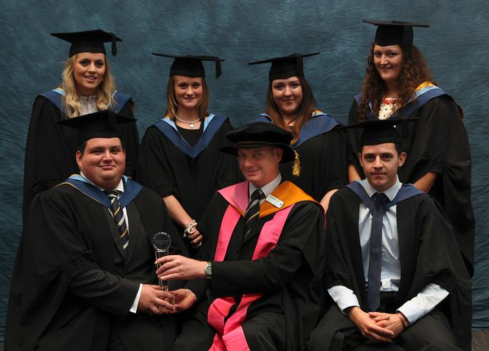Senior Lecturer Dr Richard Green presents the Spearhead Prize to winning group: James Wilcox BSc (Hons) Agriculture, Andrew Peebles BSc (Hons) Agri-business, Emma-Louise Davies BSc (Hons) Business Management with Marketing, Diane Hemming BSc (Hons) Business Management with Marketing, and Kate Eardley BSc (Hons) Agri-business. The Spearhead Prize is to the group that has attained the highest mark in the Management Consultant Project module.