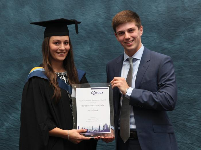 The Royal Institution of Chartered Surveyors prize is presented to Vicky Stark, BSc (Hons) Rural Property Management, by Robert Timmins, RICS Matrics Marches Chairman. Vicky, 22, from Newton Abbot, Devon, was the top final year student on her course