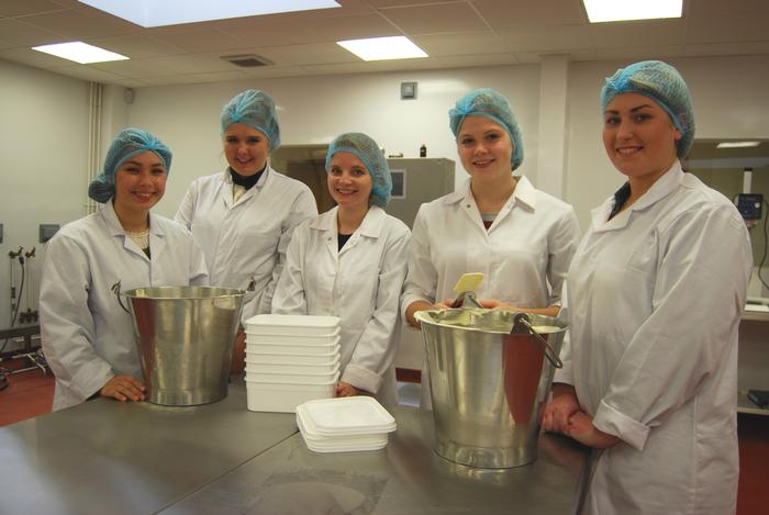 Food students making ice cream in the Regional Food Academy on campus