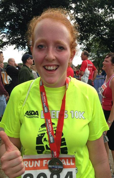 Tori after the Leeds 10k - the first time she completed the distance in less than one hour.