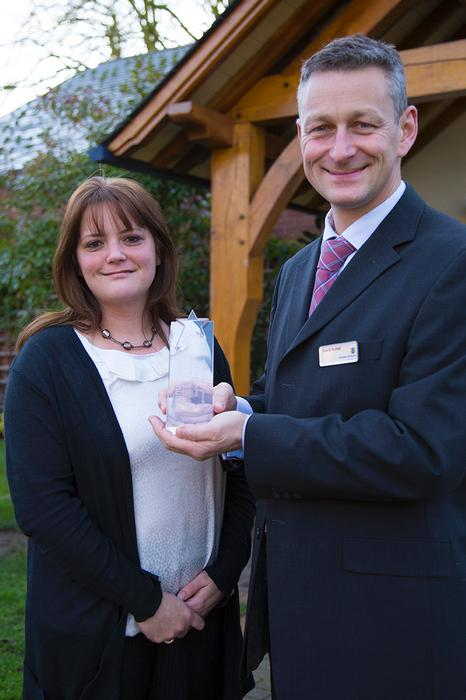 Lisa Chapman and David Nuttall, who manage the conference venue and catering teams, with the Venuemasters award