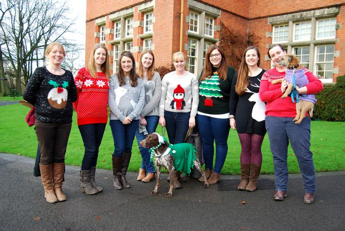 Staff from the animals department with Ellie the elf and Haggis