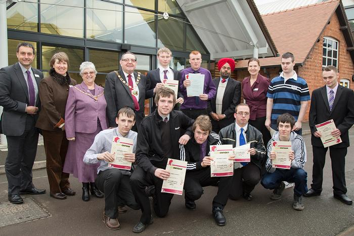 The students celebrate with representatives of Harper Adams University and Telford and Wrekin Council