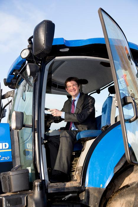 Universities Minister, Greg Clark MP,  had a brief tractor driving experience while visiting Harper Adams University