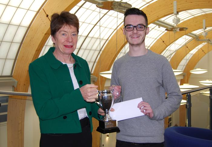 Pam Whitehouse presents the McConnel Prize to Jack Dickinson