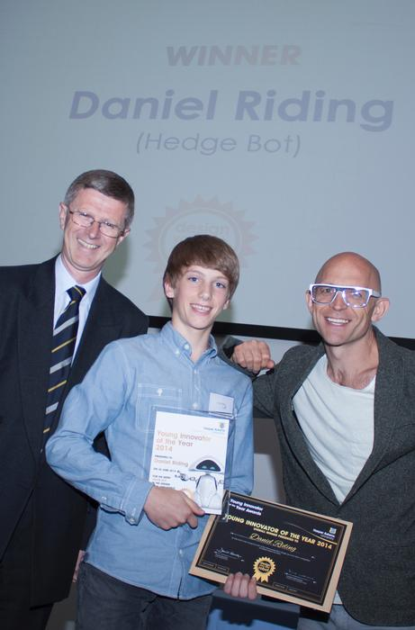 Last year's winner, Daniel Riding, designed a hedge cutting robot.