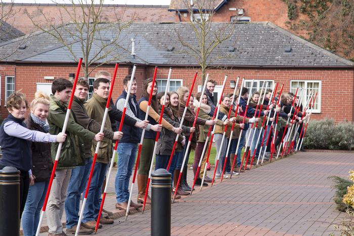 First year students took part in a ranging rods parade of honour