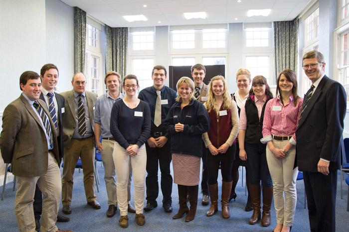 Minette Batters with the Vice-Chancellor, agriculture courses manager Russell Readman and students