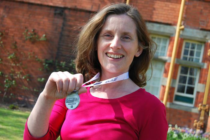 Dr Talbot with her Swimathon medal