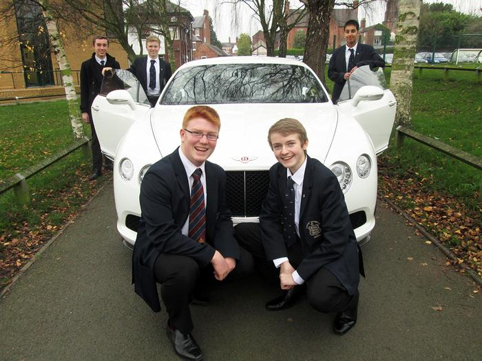 Adams' Grammar school pupils admire the Bentley