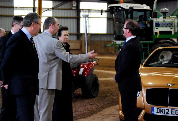 James representing Bentley at Harper Adams in 2012, during a visit by the Princess Royal