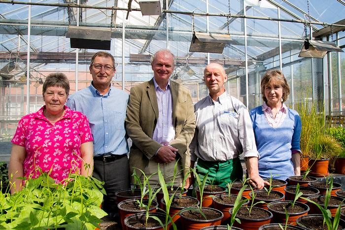 Left to right, Jan Haycox and Bob Hutchings, from Harper Adams; Stephen Drew from Medic Malawi, university Grounds Manager Mark Hall and Joyce Jagger, from Battlefield 1403 inspect the crops growing the university glasshouses ahead of the food festival