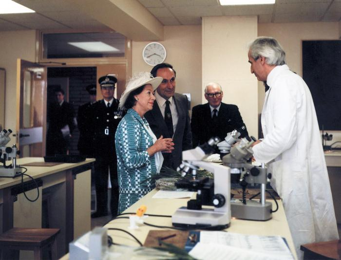 In 1985, college Principal Tony Harris (right of HRH) and lecturer Alan Costley (far right) welcomed Princess Margaret to the new laboratories. (Click on images for large view)