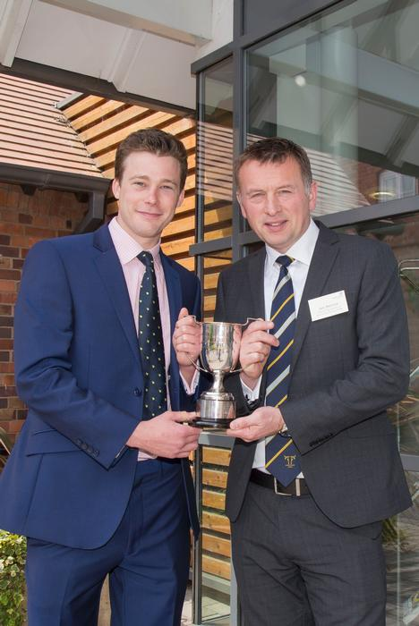 Tom Wareham receives the NatWest award from Ian Burrow