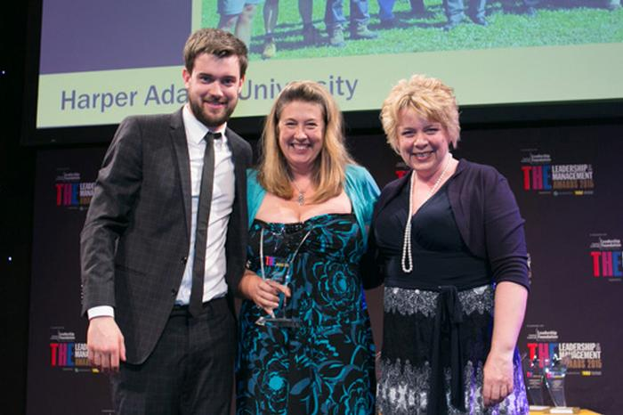 Sandra Turner, course manager for programmes run in conjunction with Beijing Agricultural College, with Bryony Blin, from IDP Education, who presented the award and comedian Jack Whitehall, who hosted the awards ceremony.