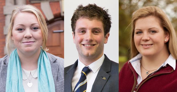 L-R: Catherine Bennett, Joe Parry and Amy Sharpe, finalists for Agricultural Student of the Year 2015 at the British Farming Awards