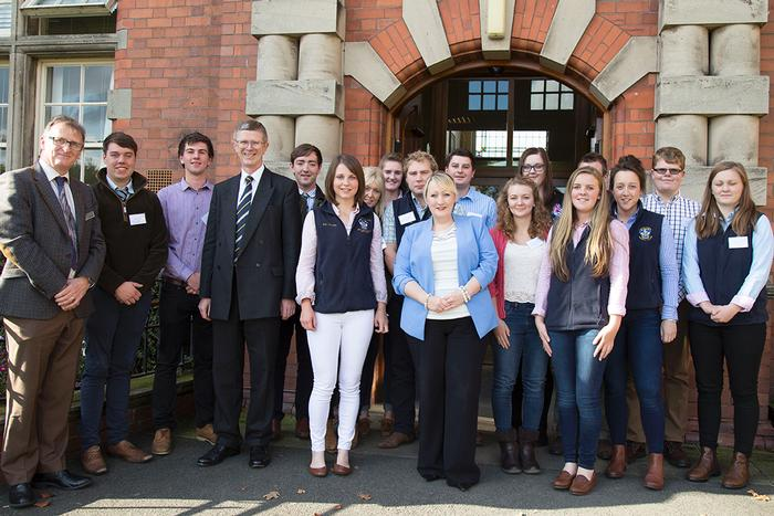 Deputy Welsh Assembly Minister for Farming and Food, Rebecca Evans with staff and students at Harper Adams University