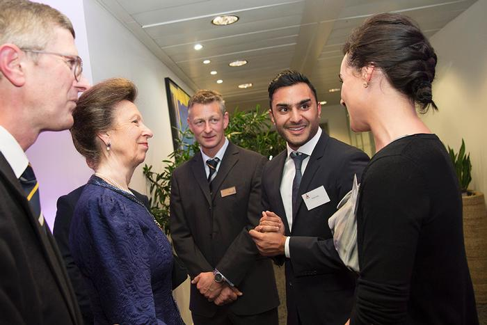 Staff from Rabobank chat to the Princess
