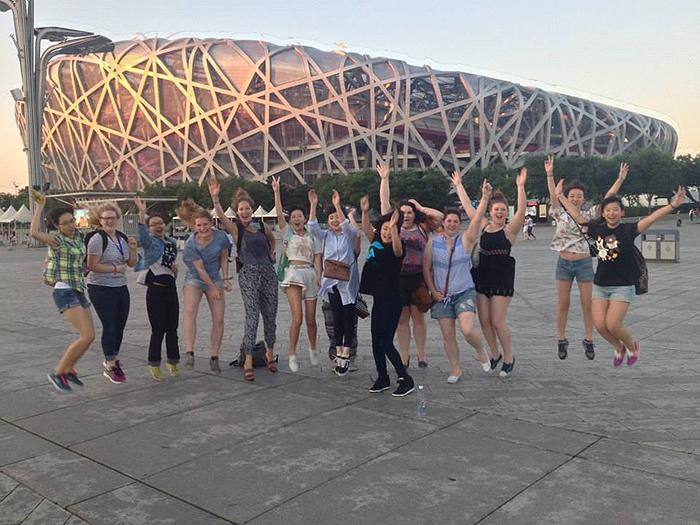 The students visited the Olympic stadium